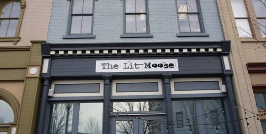 The Lit Moose exterior signage