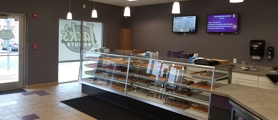 Bakery case for Jack's Donuts