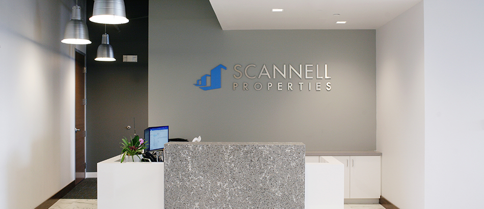 Reception desk area for Scannell properties