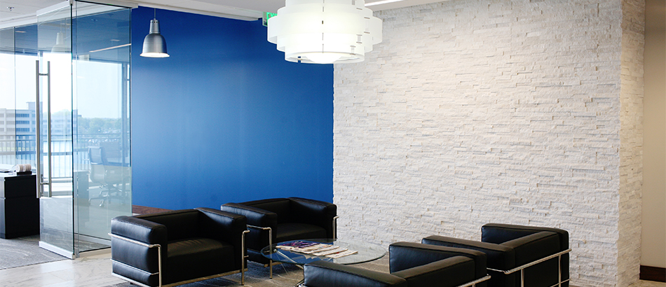 Waiting room with blue wall