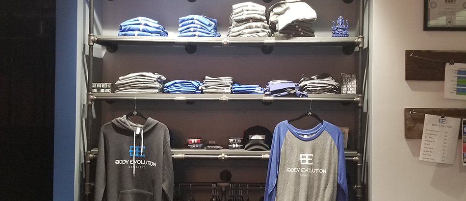 Merchandise for sale at Body Evolution