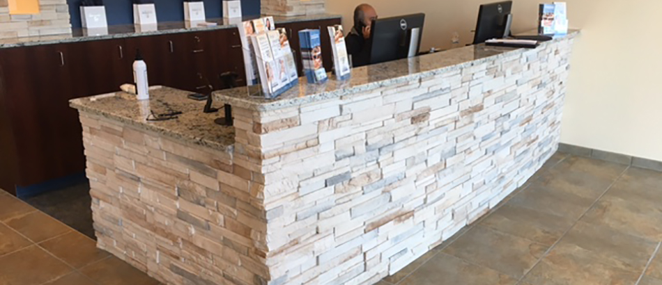 Hand and Stone Reception desk