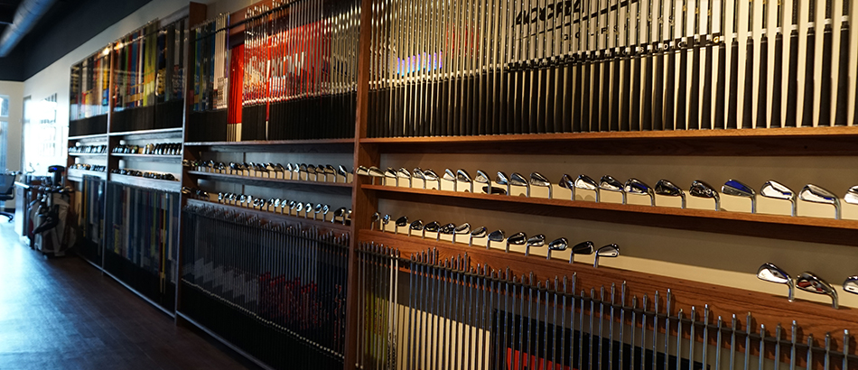 Wall of golf clubs