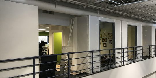 Second story view with railing at Form Stack Office