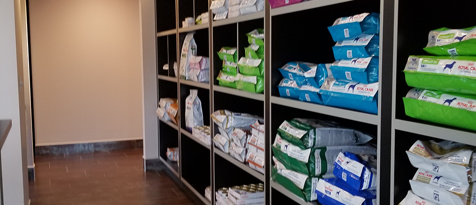 Bags of dog food at Fall Creek Place Animal Clinic
