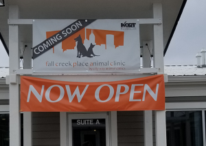 Exterior Signage of Fall Creek Place Animal Clinic
