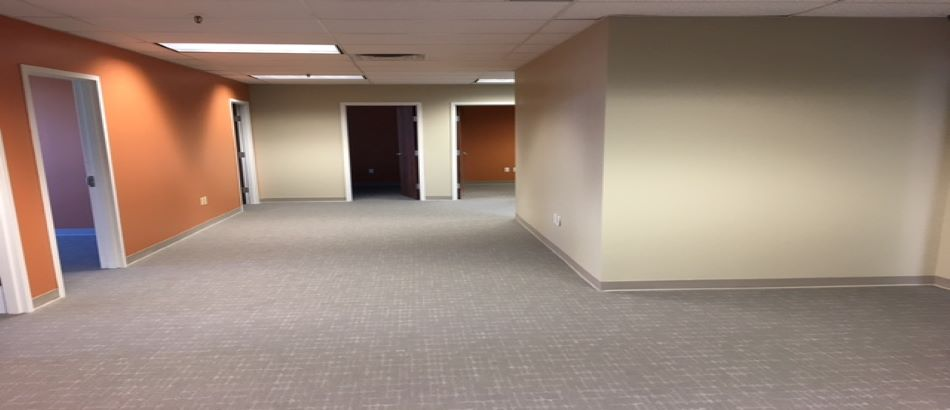Empty office interior with orange and beige walls