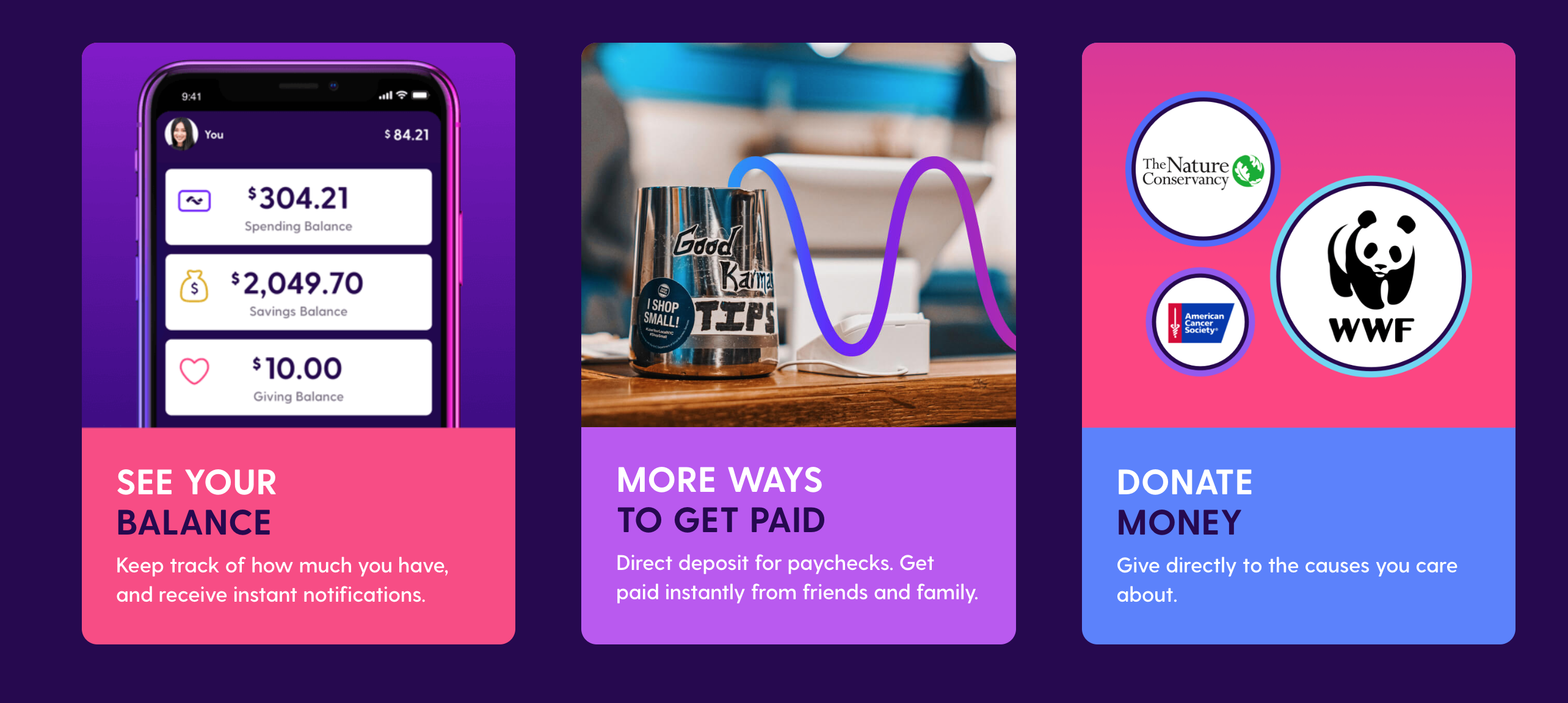 Credit Card banking app, the Current.