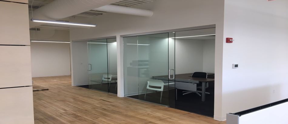 Private offices with glass walls