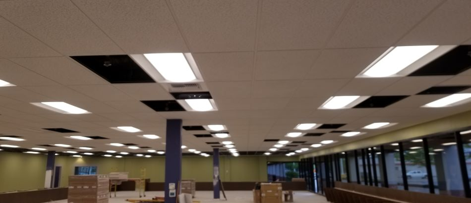 Office space with dropped ceiling