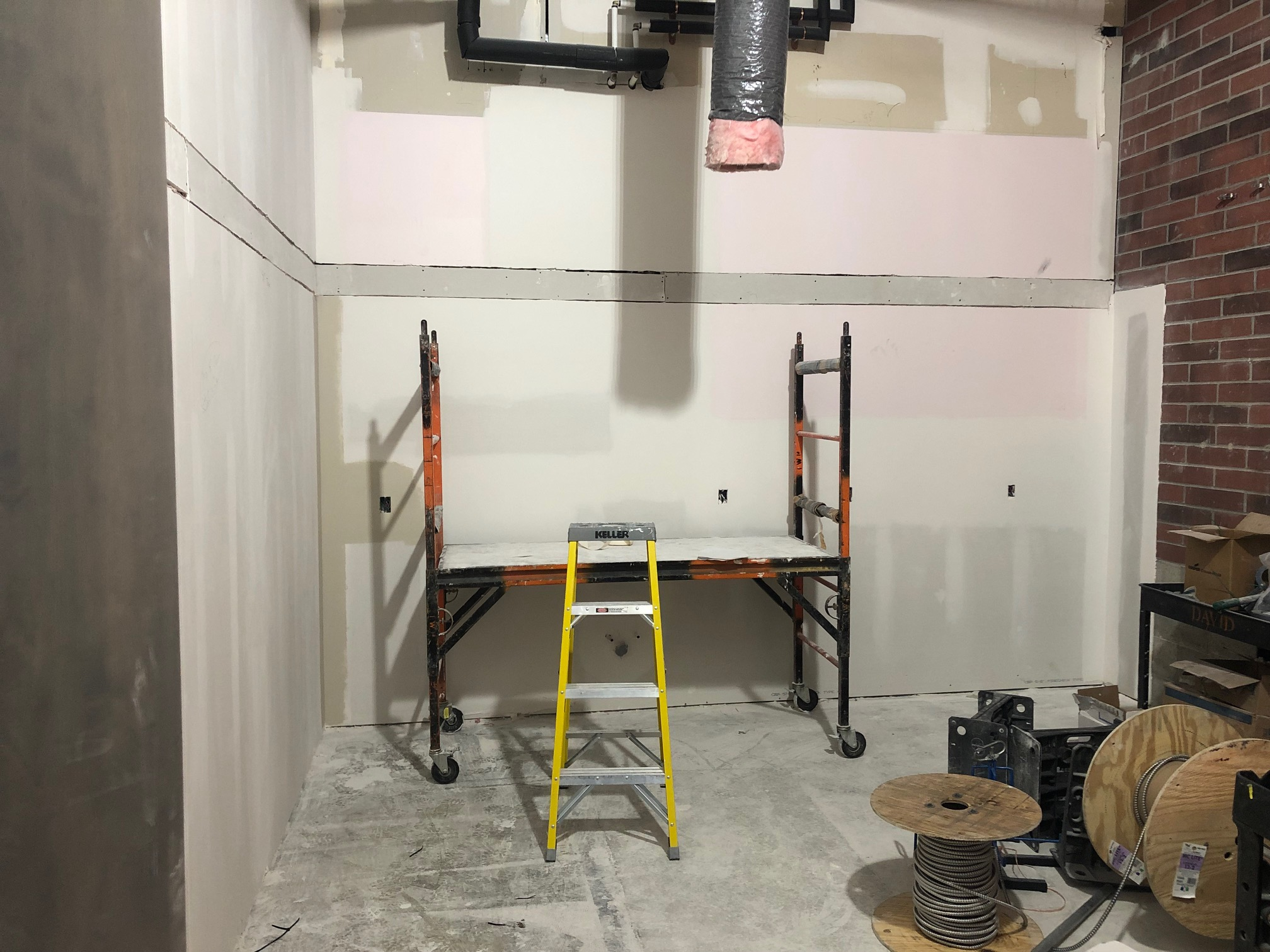 Drywall in progress