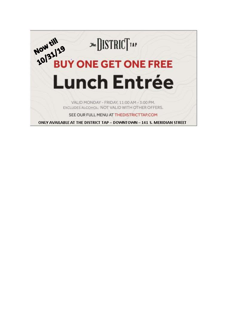 District Tap Lunch Coupon